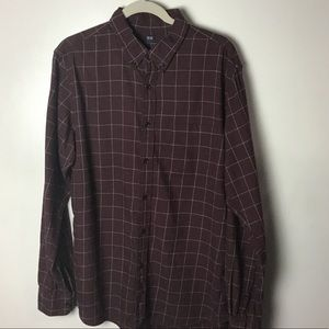 Uniqlo red l/s button down shirt. Large